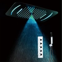 Multi Function Bathroom Led Shower head 23 Inches rectangular Electricity power led light rain showerhead Conceal Ceiling Shower Mixer Set