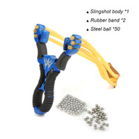 Metal Hunting Slingshot Sets Skid- resistant Handle Sling Pow...