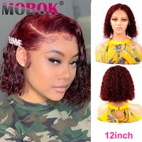 180% Ombre Colord 13x4 Curly BOB Wig Lace Front Human Hair W...