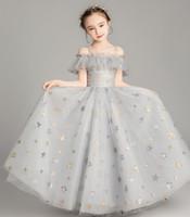 Princesse Silver Stars Tulle Sangles Fleur Girl Robes Filles 'Pareant Robes Vacances / Robe d'anniversaire / Jupe Taille personnalisée 2-14 DF710326