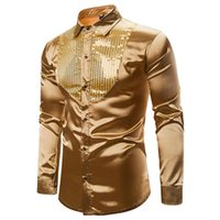 Mens Smooth Silk Satin Shirt Gold Sequin Tuxedo Shirt Party ...
