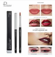 Pudaier 17 colores Silky Matte Lipliner Hidratante de larga duración Lip Liner Pencil Impermeable Sombra de ojos Liner Pen Nude Lip Cosmetic