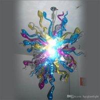 Presente de Natal de ferro forjado bonito Vidro Âmbar Luzes pendentes Top Design Mão Colorido soprado Murano lustre Lâmpadas de vidro para Home Decor