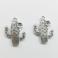 100 sztuk Kwiat Kaktus Charms Wisiorki Retro Biżuteria Akcesoria DIY Antique Silver Wisiorek Dla Bransoletka Kolczyki Brelok 20 * 15mm