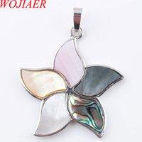 Wojier Natural Zealand Abalone Shell GEM Камень Кулон Ожерелья Бусины Многоцветные Заводы Цветочные Женщины Мужчины Ювелирные Изделия DN3583