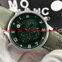 NUEVO reloj para hombre Cronógrafo multifuncional movimiento de cuarzo negocio Caja de acero inoxidable esmerilado Dial verde Todo el trabajo flyback Reloj de pulsera