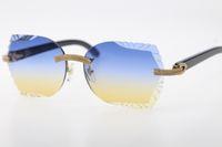 큰 돌 안경 검은 버팔로 경적 3524012 무선 선글라스 라운드 유니섹스 하이 엔드 안경 새겨진 렌즈 새겨진