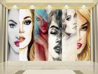 formato personalizzato foto 3d carta da parati soggiorno moda bellezza acquarello pittura immagine 3d divano TV sfondo carta da parati murale adesivo non tessuto
