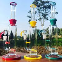 Tubo de agua de bong de vidrio de color heterosexual de alta calidad 14.5 pulgadas cuadrada con percoladores de 18,8 mm con un receptor de ceniza o banger de cuarzo