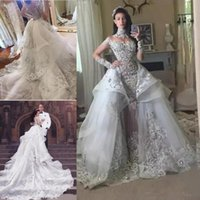 Luxe Cristal Dessus de jupe robes de mariée haut col en dentelle perlée Applique hiérarchisé organza train chapelle robe de mariée Robe de Novia