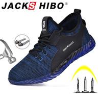 Jackshibo sécurité Chaussures de travail pour les hommes Four Season Respirant Bottes de travail anti-fracassant Sneakers Steel Toe Cap Chaussures de sécurité