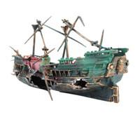 1шт 24*12см большой аквариум пластиковых Аквариум украшение лодка корабль воздуха Сплит кораблекрушение рыбы бак украшение крушение затонул