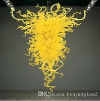장식 스타일 노란색 컬러 손 불어 유리 샹들리에 빛을 매달려 100 % 입 풍선 붕규산 중국 공급 업체 호텔