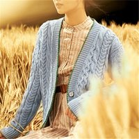 100% hand made pure wool thick Vneck knit women fashion loos...