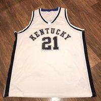 2001-02 İngiltere Kentucky Wildcats College Tayshaun Prens # 21 Retro Basketbol Jersey Erkek Dikişli Özel Numarası Adları