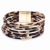 2020 Bracciali Leopard in pelle per le donne di cuoio a più strati largo braccialetto dell'involucro Wristband del polsino del braccialetto con i monili magnetici fibbia