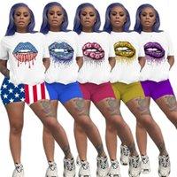 Verano Mujeres chándal boca labios impresos 2 piezas D6812 Ropa determinada de la manera camisetas de manga corta tapa te cortocircuitos del equipo de deporte