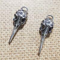 DIY Earring Charm Accessoires Antiek Brons / Antiek Zilver Skull Bird Head Charm Resultings 13x41mm 20pcs / lot