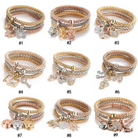 3pcs set Crystal Owl Crown Heart Bracelets Rhinestone Elepha...