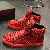 Brand Men Cow Leather High Top Skateboard shoe Sport Trainer...