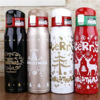 Botellas de agua creativas de acero inoxidable de Navidad Frascos portátiles de aislamiento al vacío con regalos de bloqueo de rebote Vasos 350 500 ml 17 5txa E1