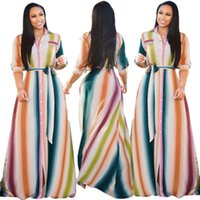 Rainbow Vertical Striped Long Maxi Dress Women Turn Down Col...