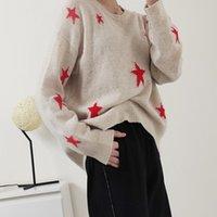 100 % 캐시미어 여성의 스웨터 긴 소매 스타 니트 풀오버 맨 앞면 뒷면 비대칭 느슨한 옷을 인쇄