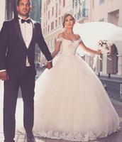 Vestido de Noiva вне плеча Бальное платье свадебное платье Милая шея кружева аппликации принцесса с коротким рукавом бусин невесты платье невесты халат Mariee MA