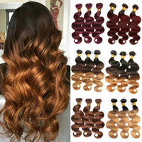 T1B 4 30 Ombre Body Wave Indian Hair Weave Bundles 3 Tone Bl...