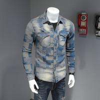 Güç erkek ilkbahar ve sonbahar ince denim gömlek erkek uzun kollu kişilik eğilim dikiş retro ince gömlek rahat ceket