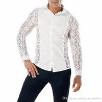 Homme Printemps Automne Chemise à manches longues en dentelle Mode Hommes Chemises Designer