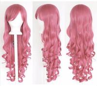 Бесплатная shippingNew Горячая Мода Розовый 80 см Женщины Длинные Вьющиеся Волнистые Волосы Костюм Партия Аниме Косплей Парик