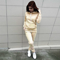 Women Tracksuits Autumn Winter Solid Color Hooded Suits Two ...