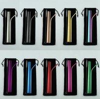 Yeniden kullanılabilir Paslanmaz Çelik Hasır Seti Düz Bent Straw Temizleme Fırçası 5pcs Metal Smoothies Payet Seti TTA776 İçme