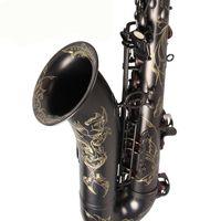 Unbranded nero nichelato Sassofono mano intagliata ottone Eb Tune Strumenti di musica mi bemolle Sax con il caso e il boccaglio Guanti