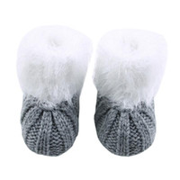 Fashion Winter Newborn Baby Shoes Unisex Hand Knitted Shoes Crochet Furry Warm Crib Prewalker Boots