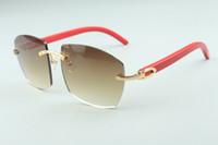 óculos de sol novos quentes A4189706-3 pernas de madeira vermelhos naturais, Fábrica de qualidade superior direto óculos de moda unissex