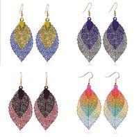 Мода Earbob для женщин Bohemia Двухслойный лист подвесной простой ретро двухцветный сплава серьги из листовых листьев