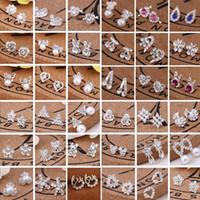Горячий продавать 45 Стили Корейский серьги Творческий Супер Блестящая Алмазная New Pearl серьги моды ювелирных изделий высокого качества