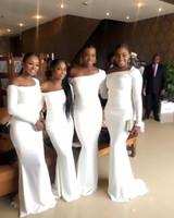 Nigérian Africain élégante demoiselle d'honneur blanche sirène robes Black Girls étage longueur manches longues demoiselle d'honneur robes pas cher tenue de soirée