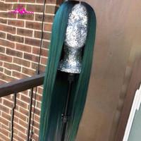 Кружевные парики ALI COCO 13x4 Бразильские прямые человеческие волосы 28 30 дюймов 150% темно-зеленый / красный / фиолетовый цвет REMY длиной Precucked