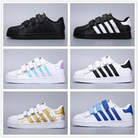 Adidas Stan Smith stansmith 2018 Niños Superstar shoes Original White Gold baby kids Superstars Sneakers Originals Super Star girls boys Sports Casual Shoes 24-35