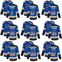 St. Louis Blues 90 Ryan O'Reilly 91 Vladimir 50 Binnington Authentic Blue USA Flag Maglia da hockey alla moda