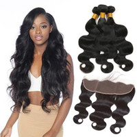 Peruvian Virgin Body Wave With Closure 3 Bundles Deal With F...