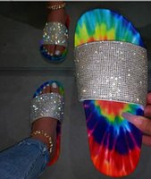 Summer 2020 Women Slippers Rhinestone Multi Mix Color Flat H...