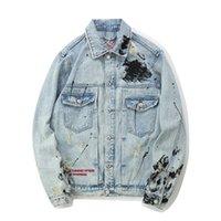 Moda Açık Mavi Erkek Denim Ceket Harf Nakış sıçrayan Broken Jean Ceket Ücretsiz Kargo Sokak Stili Kıyafetler
