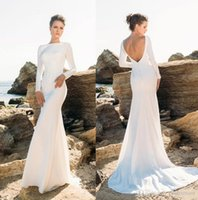 Simple Long Sleeve Backless Mermaid Beach Wedding Dresses 20...