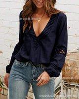 Blusas das mulheres camiseta Chemise femme desgaste mulheres tops adulto azul laço profundo camiseta camisa de colarinho longo mangas longas lazer tempo escavando camisa para fora