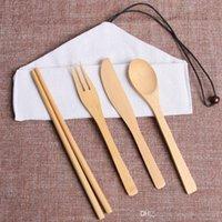 Portátil Faqueiro Outdoor Viagem Bamboo talheres conjunto de faca Chopsticks Fork Colher Louça Define Adulto Crianças Louça Cozinha BH2301 ZX