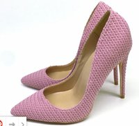new Pink Weave Women' s Red Bottom pointed Fine- heeled H...